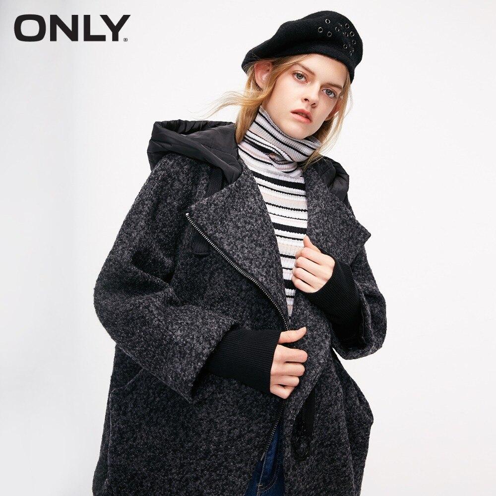 Только Женское шерстяное пальто с капюшоном стеганое с кулиской капюшон диагональная молния спереди пальто женское   11836T501