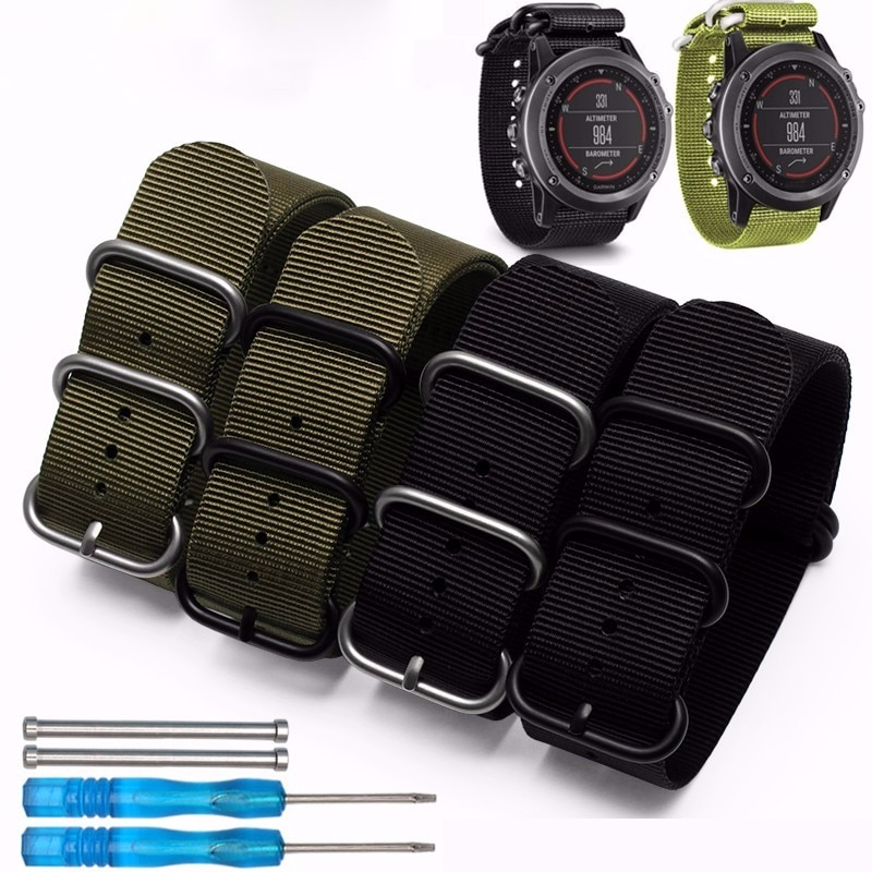 Gran oferta 2016 correa de reloj de nailon de moda 26mm correa de nailon de Lujo 5 anillos correa de reloj de repuesto para Garmin Fenix 3 negro/verde