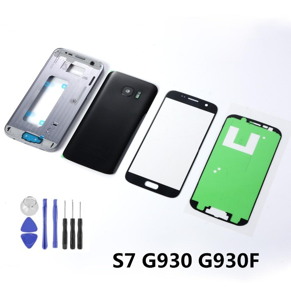 Carcasa de Metal para Samsung Galaxy S7 G930F, carcasa de batería de Marco medio, cubierta trasera de cristal + pantalla táctil LCD, Sensor + adhesivo + herramientas