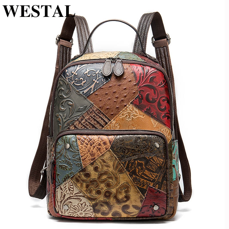 WESTAL Women's Leather Backpack Female Leather School Bags for Girls Luxury Laptop Backpacks for Women Bagpacks Handbags 86343