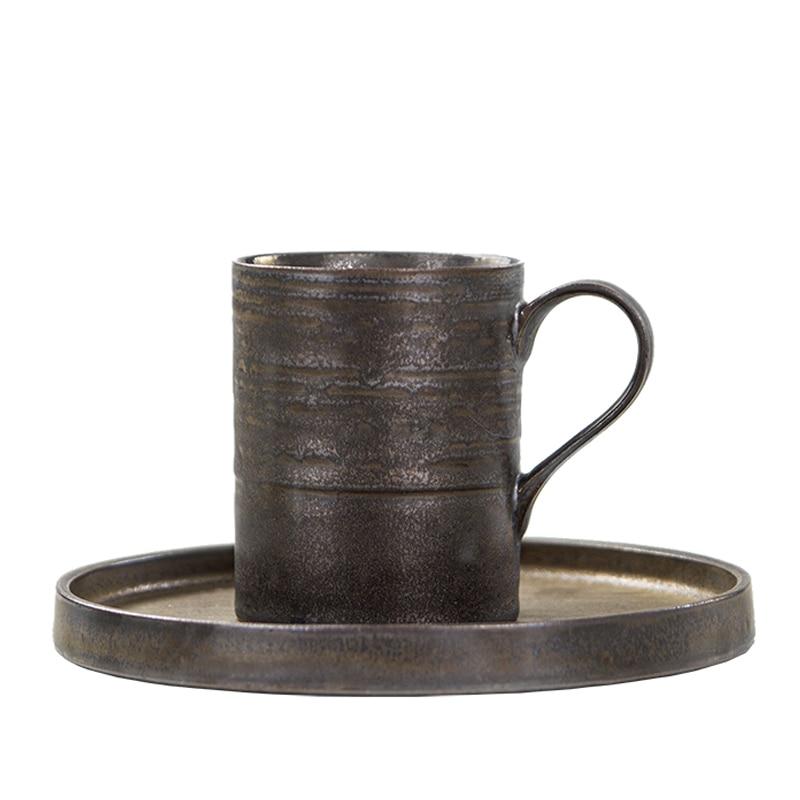 Taza de café de cerámica gruesa de estilo japonés Zen negro de 140/300ml con platillo Taza de cerámica hecha a mano de capuchino taza de té de la tarde de la Oficina