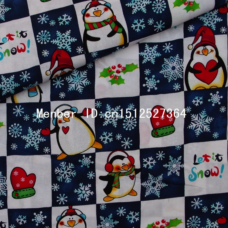 135 cm x 50 cm Baumwolle hot silber cartoon stoff-Plaid, penguins, schneeflocken, handschuhe (322)