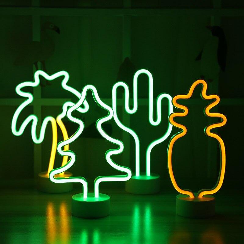 Luz de noche LED de neón con forma de Cactus y piña con Base alimentado por batería lámpara de mesa para habitación de niños vacaciones