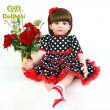 "Big 24"" bebe reborn silicone vinyl baby toddler dolls toys for children gift adoras Noble Princess Dress Up Doll toys"