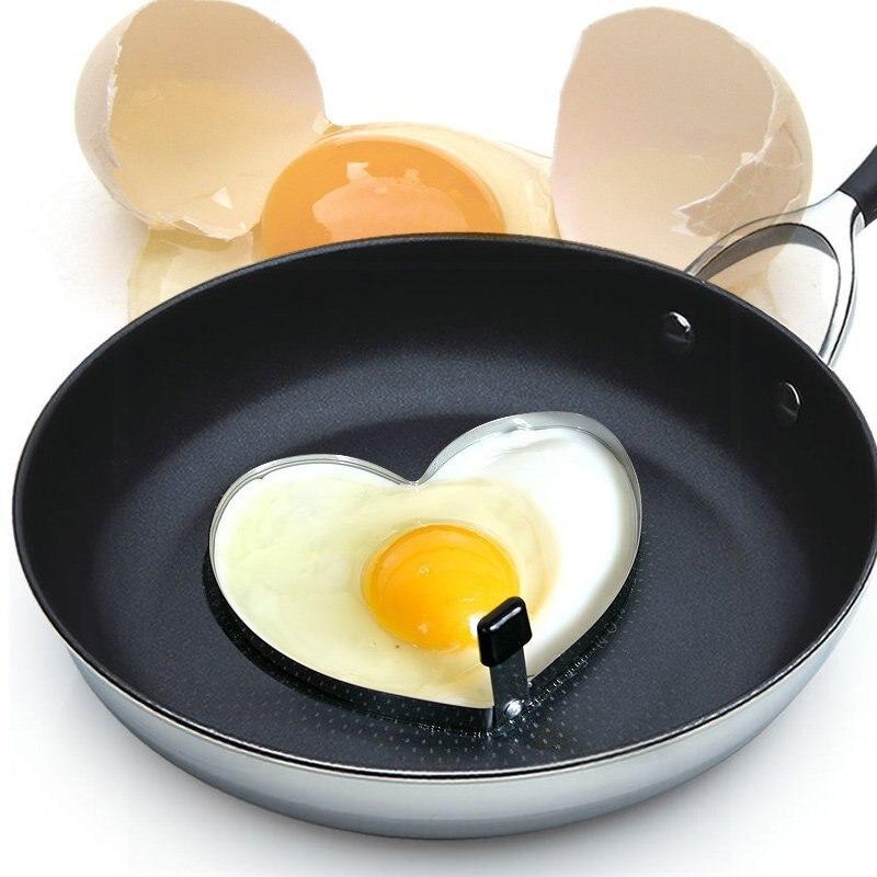Aço inoxidável Fried Egg Pancake Shaper Molde Omelete Molde Coração-forma de Fritar Ovo Cozinhar Ferramentas Acessórios de Cozinha Gadget U3