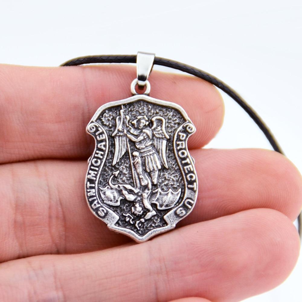 1pc saint michael o arcanjo colar talismã amuleto colar espírito jóias