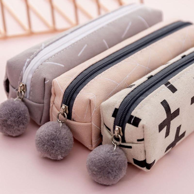 1pcs Canvas Pencil Case Cute Stationery Novelty Pencil Pouch Kawaii Zipper Pen Bag Cute Cartoon Pen Case School Office Supplies