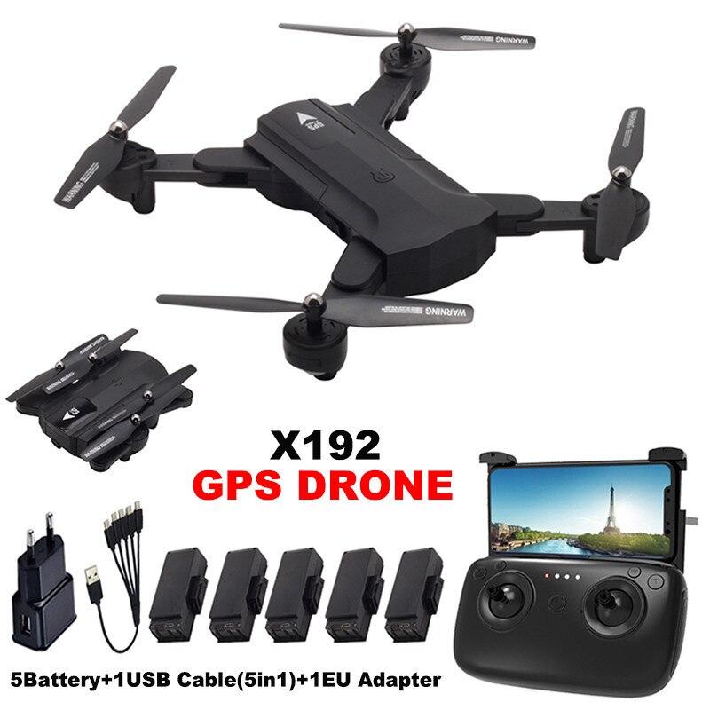X192 GPS RC Drone mit 720 p/1080 p HD Kamera Quadcopter WiFi FPV Hubschrauber Mini Faltbare RC Drone GPS Festen Punkt Folgen Mir Modus