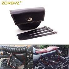 ZORBYZ Black PU Leather Saddlebag saddle bag Luggage Tool Side Bags For Cafe Racer ATV Motorcycle