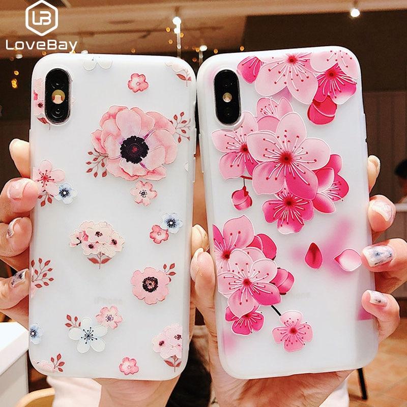 Lovebay 3D рельефный силиконовый чехол для iPhone 6 7 6S 8 Plus X XS MAX XR цветок мягкий TPU чехол для телефона iPhone 6 7 Plus Fundas