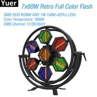 7X60W LED Full Color RGBW 4IN1 Retro Flash Light DMX512 Sound LED Bar Party Lights DJ Disco Club Big Stage Strobe Flash Light