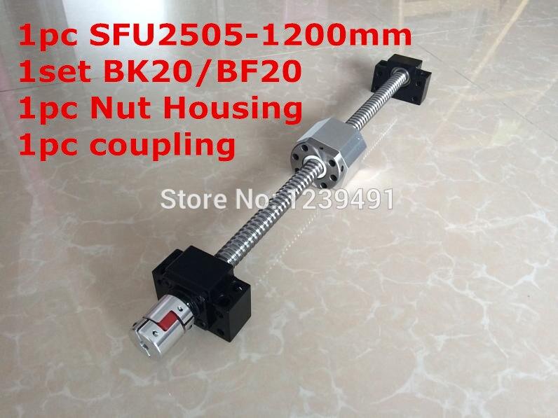 SFU2505-1200mm Ballscrew مع Ballnut الكمبيوتر + BK20/ BF20 دعم + 2505 الجوز الإسكان + 17 مللي متر * 14 مللي متر اقتران CNC أجزاء