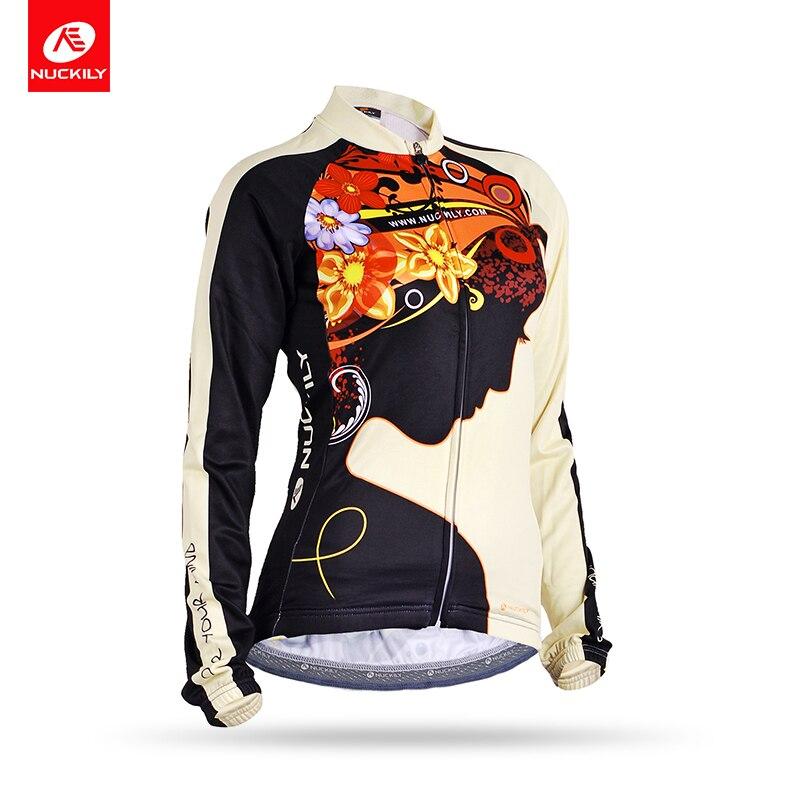 NUCKILY transpirable ciclismo Tops mujeres manga larga ciclismo ropa bicicleta Jersey GC002