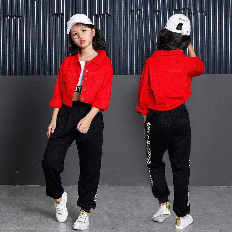 الأطفال الهيب هوب ملابس رقص الأحمر الجاز الرقص دعوى طويلة الأكمام الشارع الرقص ممارسة الرقص الملابس الحديثة مرحلة الأداء