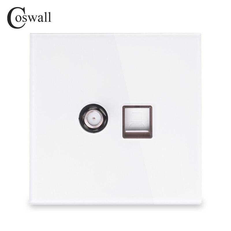 Coswall 2018 Новое поступление Хрустальное закаленное стекло панель настенная спутниковая розетка с компьютером интернет RJ45 розетка для передачи данных Белый