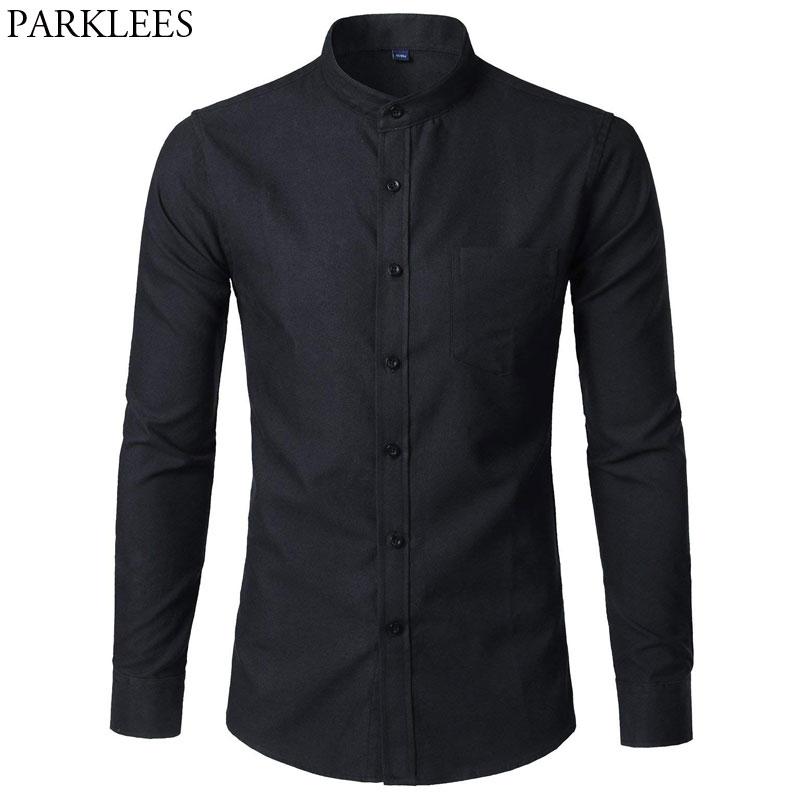 Camisa de vestir Oxford Slim Fit para hombre, camisa informal de manga larga con cuello mandarín para hombre, camisa de oficina con bolsillo negro