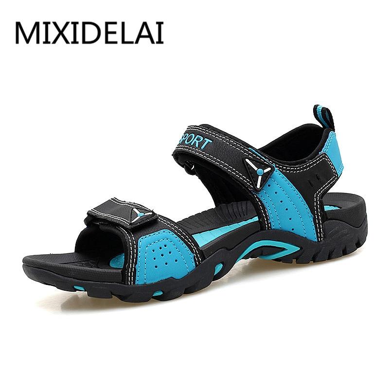 Mixidelai sandálias masculinas para o verão, casual, respirável, praia, plus size, 35-46