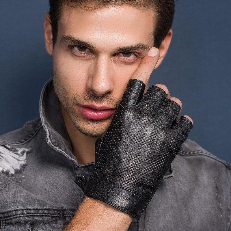 Мужские тонкие кожаные перчатки для вождения Highshine без пальцев, мягкие перчатки без подкладки