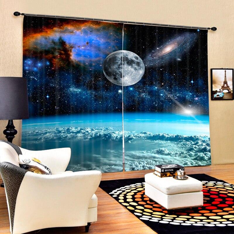Senisaihon современные 3D затемненные оконные шторы с рисунком земли, Пространства Галактики, полиэстер, занавески для спальни, для гостиной