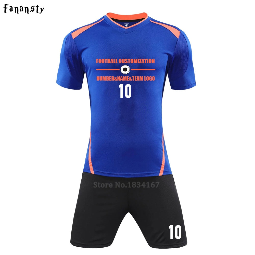Men survetement football jerseys 2017 sports soccer jersey sets uniforms shirts+shorts maillot de foot DIY Logo number name