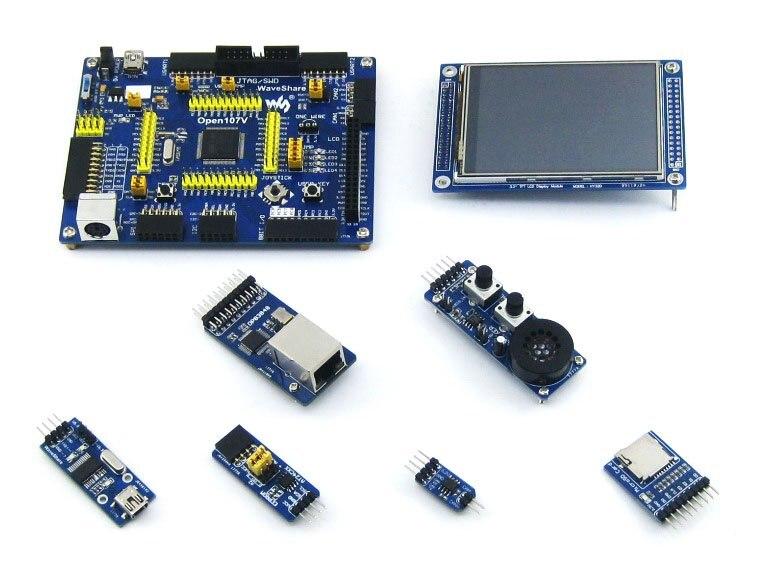 Kit de placa de desarrollo STM32 para MCU STM32F107V Series STM32F107VCT6 ARM Cortex-M3 + LCD táctil de 3,2 pulgadas + 8 módulos = Paquete A de opa107v