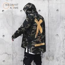 Nouveaux hommes veste haute rue printemps hommes Camouflage X imprimer vestes mode coton coupe-vent manteau mâle capuche Hip Hop Streetwea