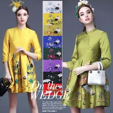 Crane imported jacquard brocade fabric spring and autumn cheongsam dress cotton jacket fabric free s