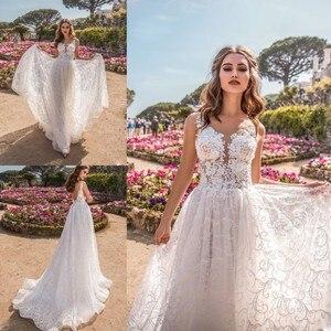 Платье свадебное кружевное с V-образным вырезом, без рукавов
