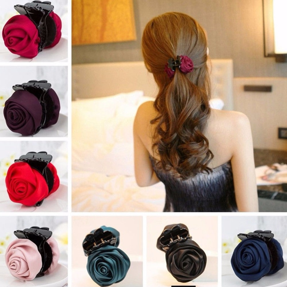 New Fashion Hair Claw Jaw Clip For Womens Elegant Plastic Camellia Rose Flower Catcher Girls Hairpins Clamp Barrette Accessories