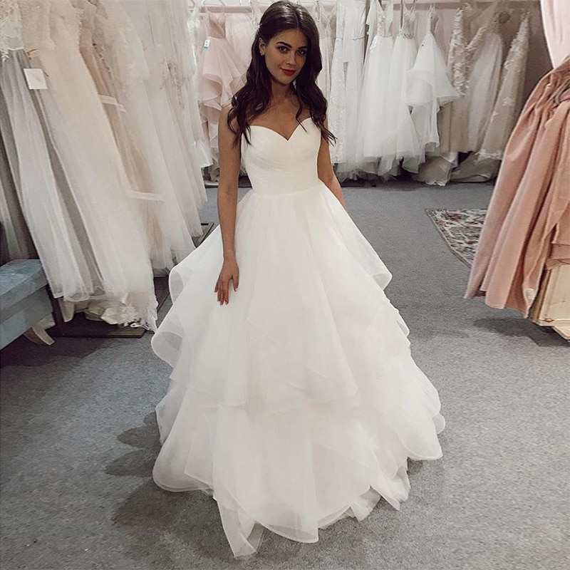 Vestido de novia de longitud completa cariño marfil blanco plisado tul vestido de novia espagueti Correa escalonada falda sin espalda vestido de novia