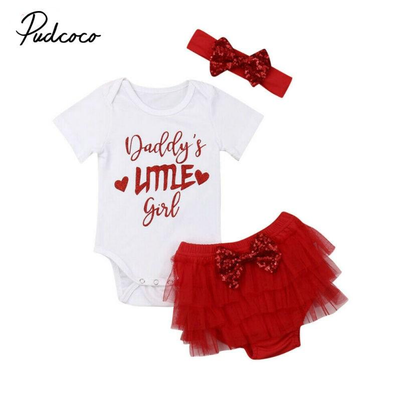Pudcoco 2019, ropa para niña recién nacida para atuendo femenino conjunto de ropa infantil de 0 a 18 meses, 3 uds., monos + faldas + lazo de lentejuelas