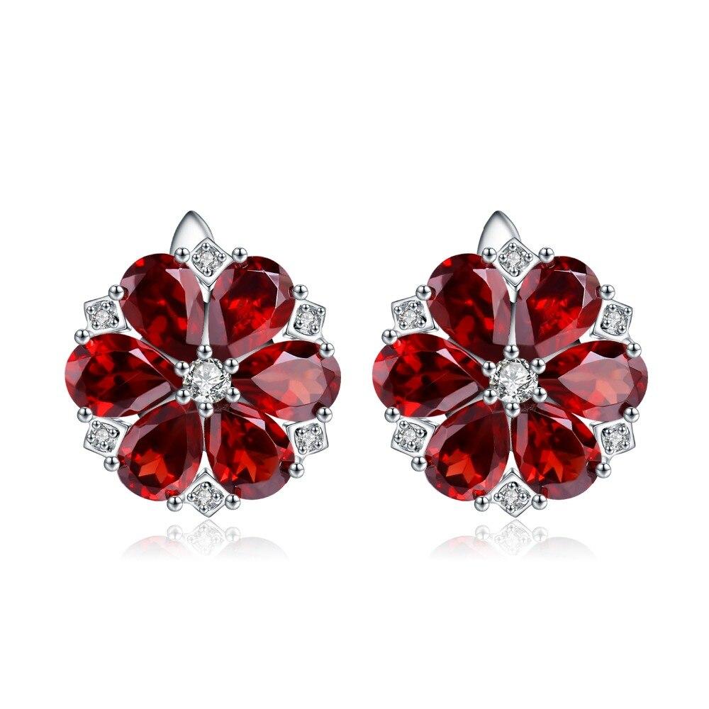 Женские серьги-пусеты с цветами, из натурального красного граната, из серебра 925 пробы