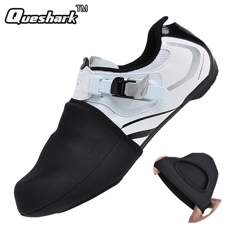 Winter Thermal Semi Palm Cycling Shoes Cover MTB Bike Bicycle Racing Toe Cover Protector Unisex Waterproof SBR Black Overshoes