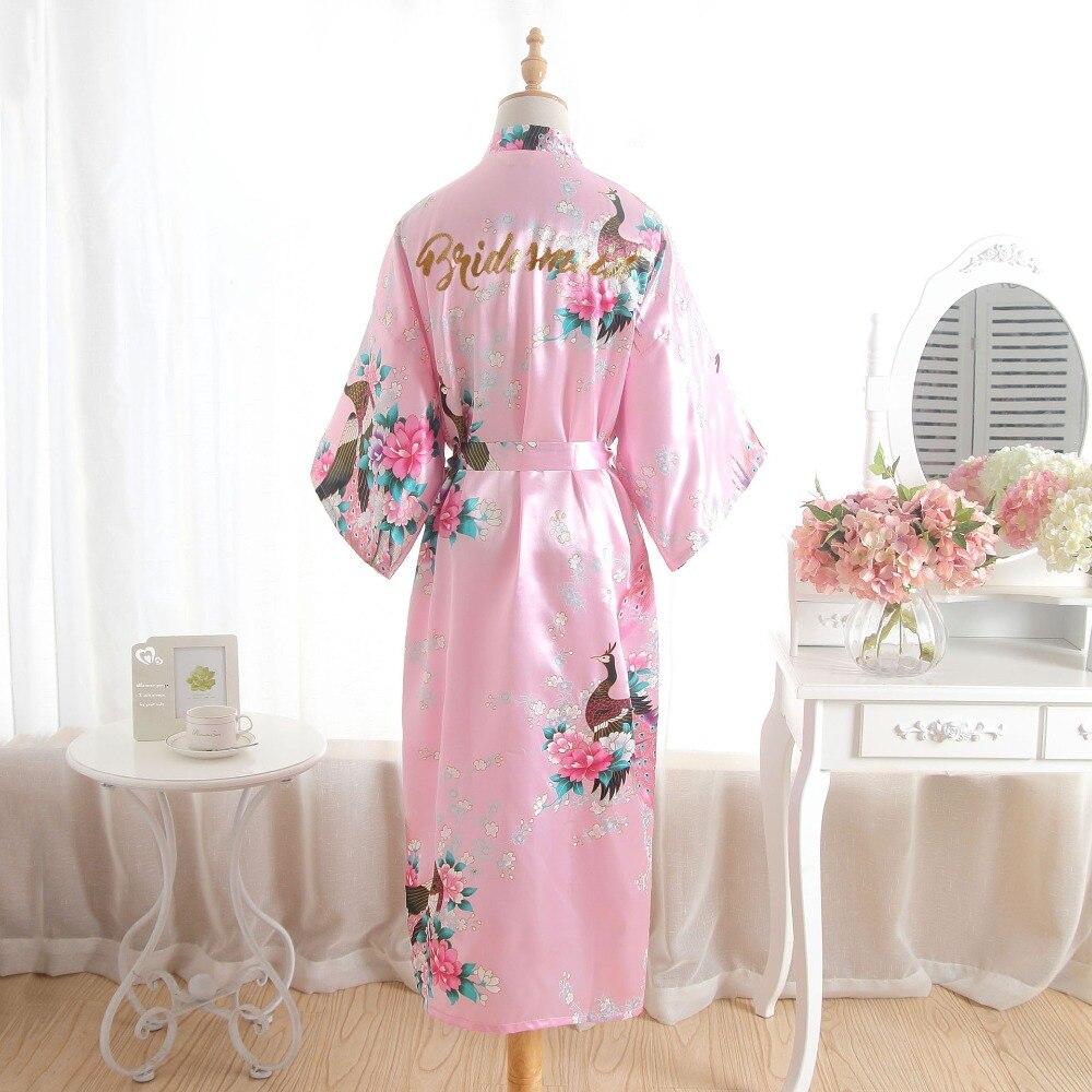 BZEL-Albornoz de seda largo de satén para mujer, Kimono Dama de Honor de boda, bata femenina de baño de talla grande, albornoz Sexy con estampado Floral