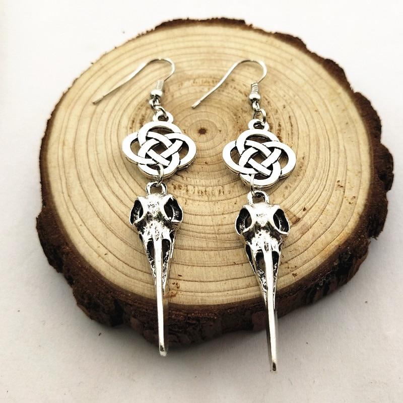 1 par nórdico vikingo Compass runa Skull Skeleton Beak Dangle Earrings con nudo irlandés escocés pendientes de gota vintage Goth Jewelry
