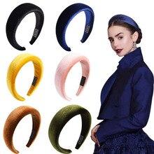 Fasacc mulheres grosso esponja bezel veludo cabeça do vintage banda lady hoop largo hairbands mulher headbands meninas coreanas acessórios de cabelo