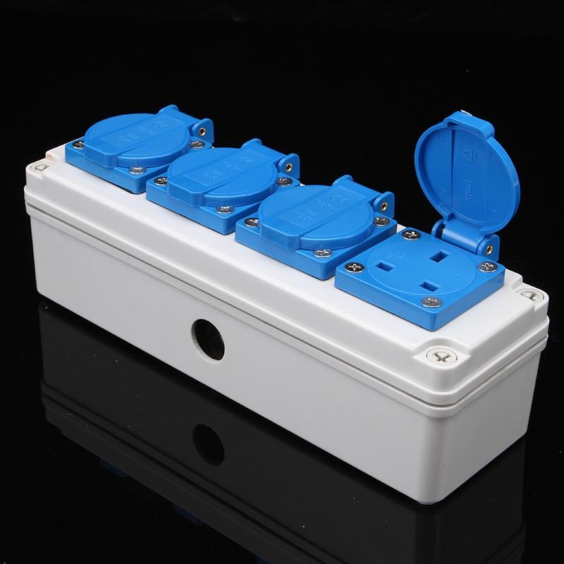 Enchufe eléctrico impermeable IP54, toma de corriente 13A, 4 bits, UK, 4,...
