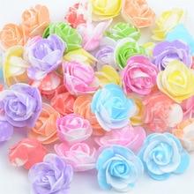 50PCS / bag mini multicolor PE foam rose head artificial rose flower handmade DIY wedding home decor