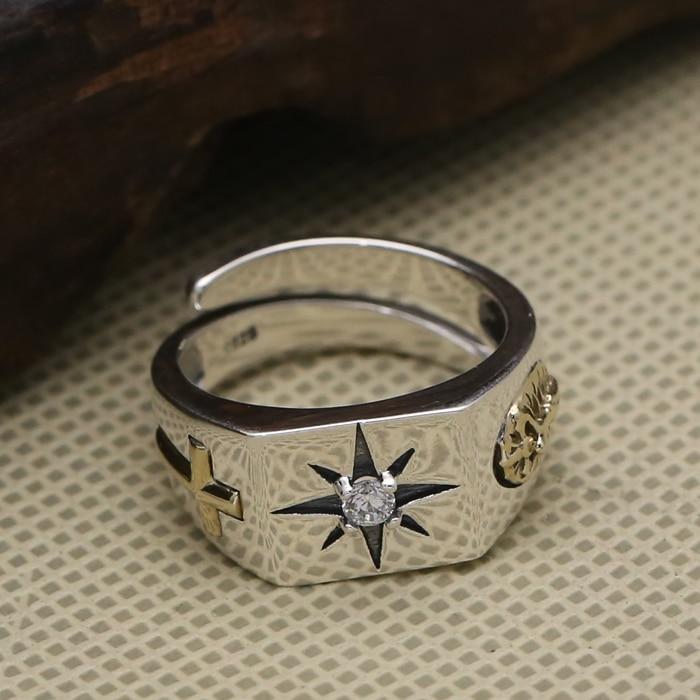 Anillo de plata maciza 925 sencillo con banda cruzada, anillo Plata de Ley 925 100% auténtica para hombres, joyería para hombres con piedra de Zirconia solitaria, regalos
