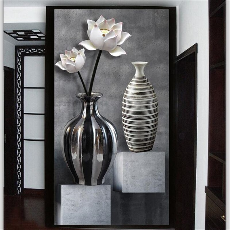 beibehang Custom wallpaper 3d photo mural HD black and white lotus vase 3D wallpaper porch aisle corridor background wall paper beibehang formaldehyde free classic wall paper embossed lotus vintage watercolor lotus leaf porch decorative painting wallpaper