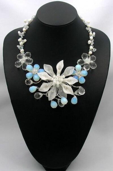 ¡NOVEDAD DE 2017! Collares y colgantes para mujer, collar de perlas naturales Fw, collar de flores de lirio opalita de 18 pulgadas