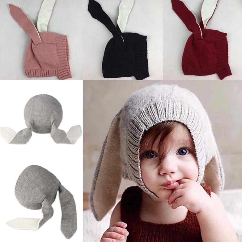 Bonnet en laine tricoté pour enfants et filles   À la mode, pour bébés garçons et filles, tricoté lapin et Crochet, bonnet à oreilles, chapeau chaud et tricoté, plus épais