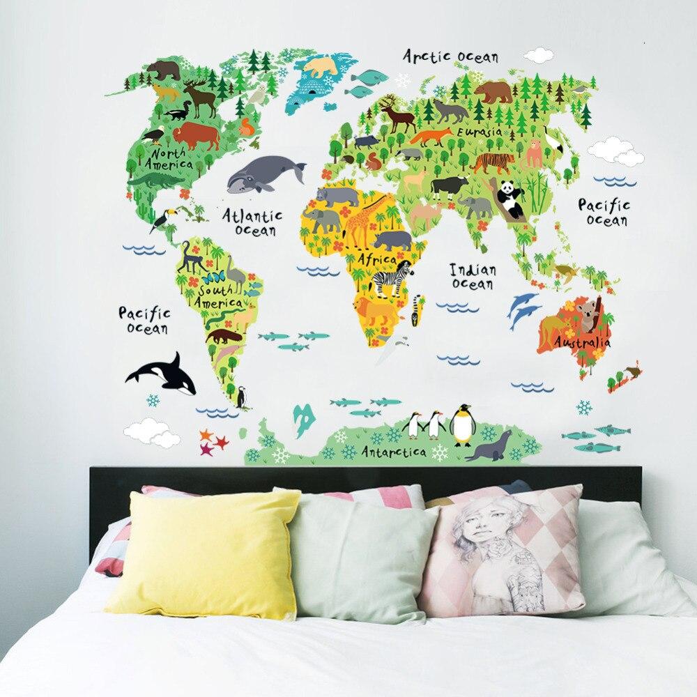 Colorido animal mapa del mundo pegatinas de pared sala de estar decoraciones para el hogar pvc calcomanía mural art 037 diy office kids room wall art