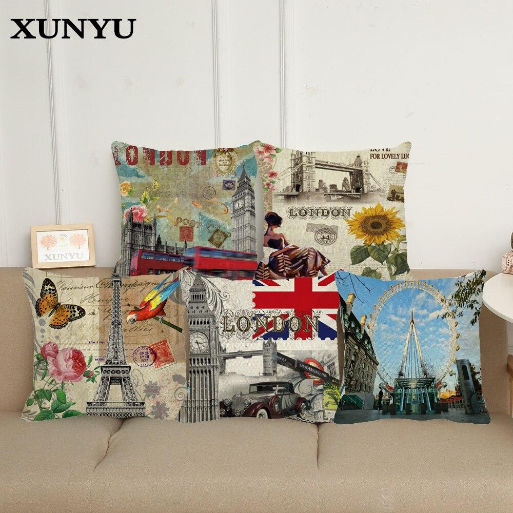Funda de cojín XUNYU de diseño londinense Paris, funda de cojín estampada para coche, funda de cojín estampada para sofá, fundas de almohada decorativas para el hogar