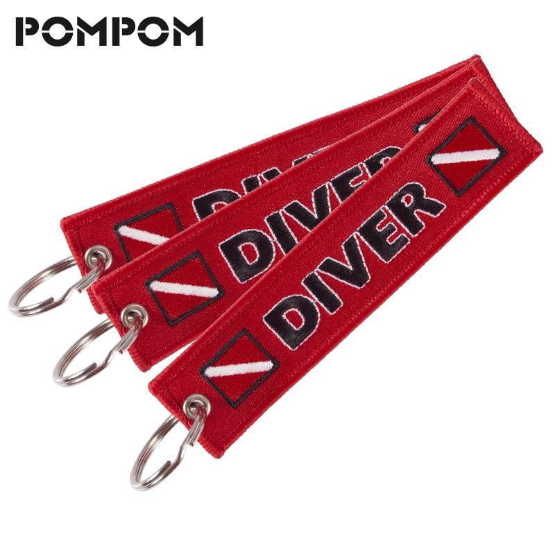 3 Stks/partij Pompom Emboridery Diver Sleutelhanger Voor Motorfietsen En Auto 'S Speciale Bagage Tags Oem Sleutelhanger Sieraden Sleutelhanger