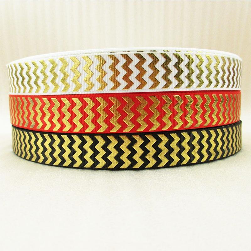 "7/8 ""(22mm) Serie a rayas cinta de oro o plata o cinta con brillo 50 yardas, materiales hechos a mano DIY, papel de regalo de boda, 50Yc1467"