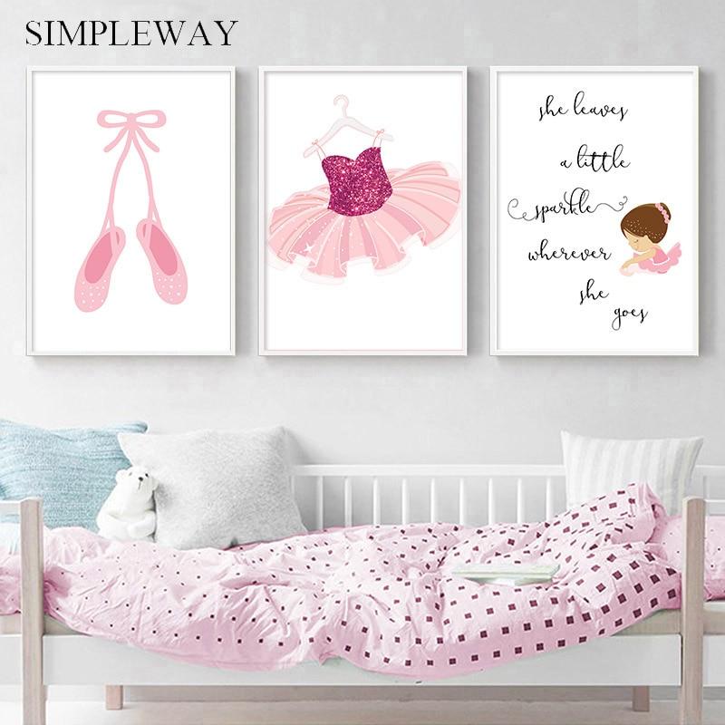 Zapatos de Ballet de princesita, afiche con citas, lienzo impreso, decoración de arte de la pared, cuadro, pintura, decoración para dormitorio de niña bebé