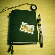 Passprot size lederen journal cover notebook vintage little green notebook dagboek losse blad planner fiiler notebook