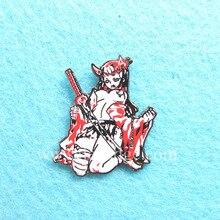 Wholesale Custom Japanese Comic Girl Hard Enamel Red Screen Print color Lapel Pins  Lapel Pin Bags Badge Gifts