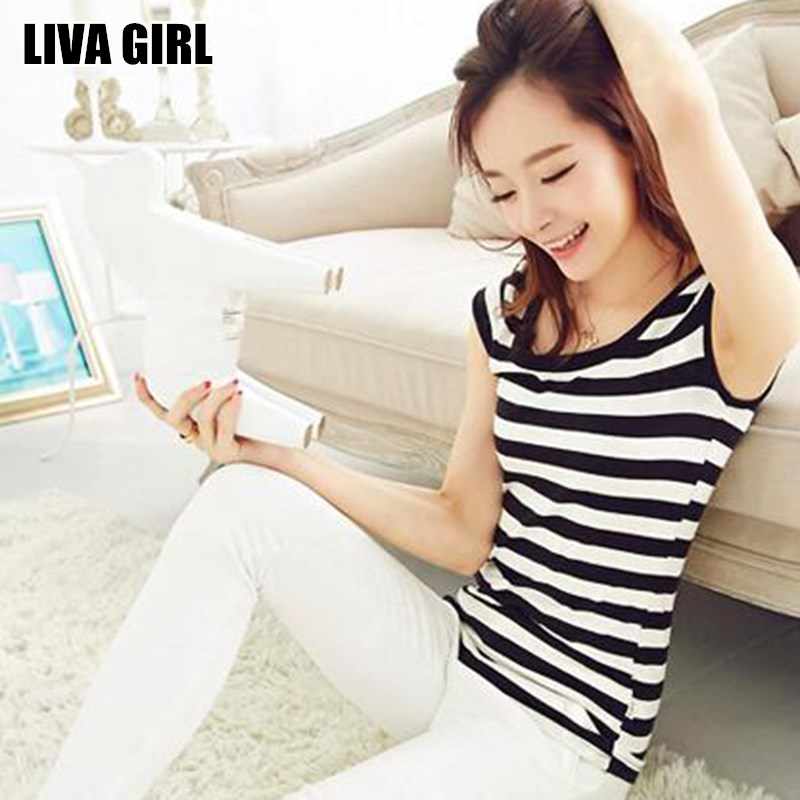 Liva Girl, gran oferta, camiseta ajustada a rayas para mujer, camisetas negras blancas con cuello redondo, camisetas de talla grande XXL, camisas combinables, regalos femeninos para señoras
